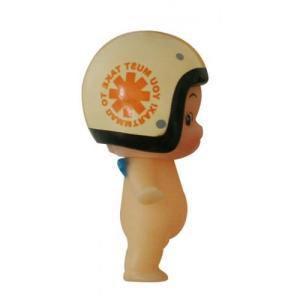 DAMMTRAX(ダムトラックス) キューピー× ヘルメット着用 キューピーちゃん キーホルダー スピードウィール-J アイボリー/オレンジ|horidashi