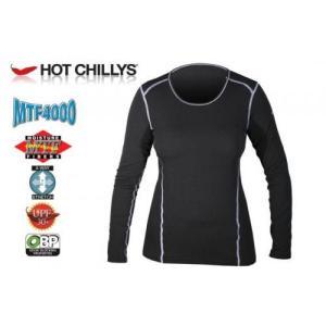 セール特価 レビューで特典 HOT CHILLYS エムティエフ4000 クルーネック レディース ブラック HC9352 速乾・消臭・UVカット ホットチリーズ|horidashi