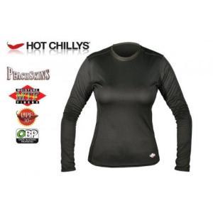 セール特価 レビューで特典 HOT CHILLYS ピーチスキン クルーネック レディース ブラック HC3050 速乾・抗菌・消臭・UVカット ホットチリーズ|horidashi