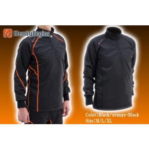 アンダー・インナーウエア HBV-001 防風インナーシャツ オレンジ ブラック ヘンリービギンズ ...