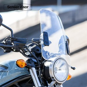 6ヶ月保証付 XL1200S スポーツスター スクリーンバイザー メーターバイザー 中型タイプ クリアスクリーン 風防 汎用 aiNET製|horidashi