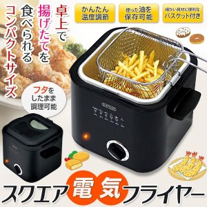 卓上コンパクトフライヤー 1.2L バスケット付 食卓で揚げたての天ぷらを 電気を使う揚げもの調理器 温度調節 だれでも簡単 安全 〓 スクエア 電気フライヤー|horidashiichiba