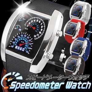 【激安セール】メンズ腕時計 デジタルウォッチ スピードメーター型 LED電池付き カレンダー表示/速...