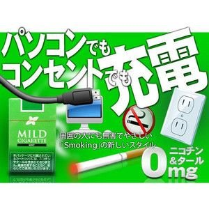 AC&USB充電/ミント味 2電源 禁煙!電子たばこ マイルドシガレット【お得な3個セット】|horidashiichiba