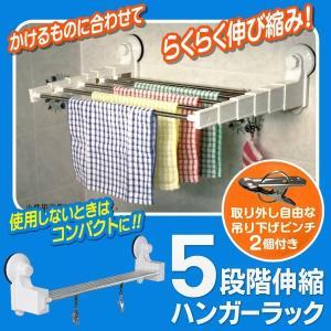 ハンガーラック 5段階伸縮 ピンチ2個付き 強力吸盤 どこでも簡単設置 超コンパクト収納 部屋干しハンガー 壁掛けスチールラック 便利グッズ 安 5段階伸縮ラックD|horidashiichiba