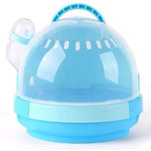 小動物 キャリー ハムスター 移動用ケージ ペットハウス 旅行 持ち運び 家 給水ボトル付き(青)|horikku