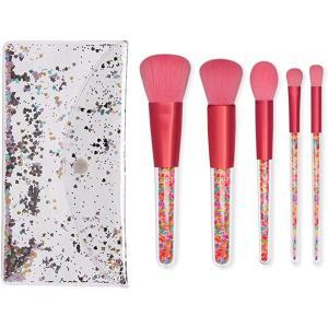 メークブラシ 化粧ブラシセット 化粧筆 パウダーファンデーション アイシャドーブラシ フェイスブラシ 5本 輝く 透明スパンコール包装 MDM|horikku
