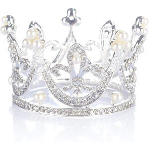 morningplace 王冠 ティアラ ヘア アクセサリー 結婚式 誕生日 プレゼント シルバー(シルバー)|horikku