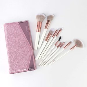 化粧道具メイクアップブラシ10本セット初心者アイシャドウブラシ ファンデーションブラシブラッシュブラシ アイブローブラシ MDM(ピンク色)|horikku