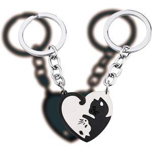 猫 キーホルダー ペア カップル キーリング ネコちゃん ステンレス製 プレゼント(黒と銀色)|horikku