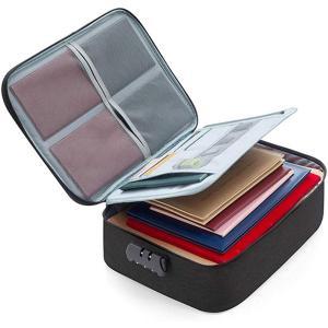 書類収納バッグ 金庫 ケース ダイヤルロック式 トラベルポーチ 貴重品収納 防犯 旅行 大容量 3層...