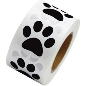 ヒロワールドトレード わんこ 足跡 シール ステッカー 500枚 ギフトラッピング 犬 猫 肉球(黒, 25mm幅1個)|ホリック PayPayモール店