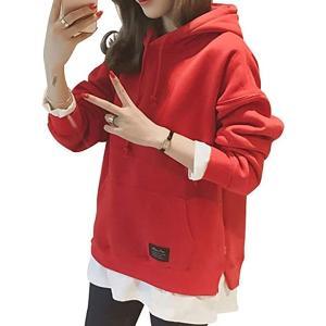 エンプティオ 長袖 重ね着風 プルオーバー パーカー レディース レイヤード トップス 体型カバー ロングスリープ 赤(レッド, XL)|horikku
