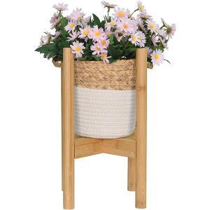 フラワースタンド 花台 鉢スタンド 植木鉢台 幅24-35cmまで調整可能 100KG耐荷重 屋外室内 ガーデニング 竹製 オシャレ MDMの画像