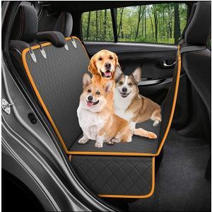 2020年 最新 ペット用 ドライブシート 犬 車用 シートカバー(ブラック×オレンジ, 収納時:35cm×25cm×5cm、オープン)|horikku