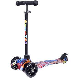 キックスクーター 3輪 キックボード 子供用 持ち運びに便利 足踏み式 4段階調整可能 SCOOTER(ブラック2, 2-8歳)|ホリック PayPayモール店