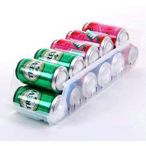 冷蔵庫 収納トレイ オーガナイザー 傾斜付き 缶ジュース 缶ビール 整理整頓グッズ 174-15(半透明) horikku
