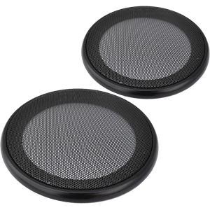 スピーカー グリルカバー メッシュ スチール 汎用 左右 取付ネジ付き 2枚セット 174-03(ブラック, 4インチ)|horikku