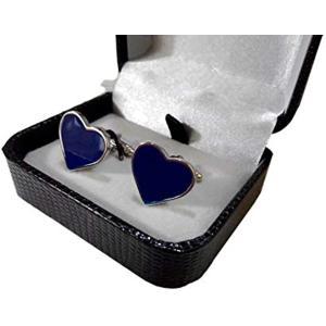 「mon luxe」 高級感 ワンランク上のおしゃれ ハート モチーフ カフリンクス カフスボタン専用ジュエリーボックス入り(ブルー / 青)|horikku