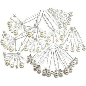 ヘアピン パール 結婚式 卒業式 入学式 髪飾り ヘッドドレス 和装 アレンジ 三つ葉(三つ葉 ワイヤー各6本 シングル10本)|horikku