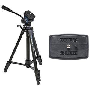 SLIK 三脚 GX 6400 VIDEO 4段 レバーロック式 ビデオ雲台+スペアクイックシューセ...