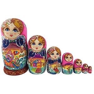 可愛い女の子 ピンクの胴体 童話の模様 マトリョーシカ人形 手業 手塗り 木製品 10個組 誕生日プレゼント 贈り物 子供のおもちゃ 飾り物|horikku