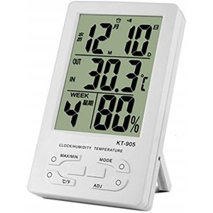大画面 デジタル 時計 室内 屋外 高精度 温度計 湿度計[KT905](白)|horikku