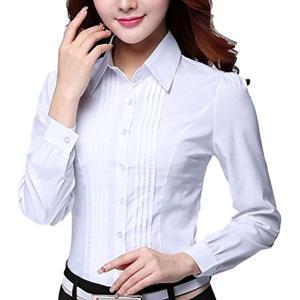 マリッチ ブラウス 長袖 白 シャツ カッターシャツ ワイシャツ オフィス(ホワイト, XL)