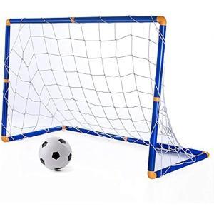 KUUQA ミニ サッカーゴール サッカーボール 子供 サッカー 練習 室内 屋外用 ミニゴール 組み立て 簡易ゴール 空気入れ ネット付き / K