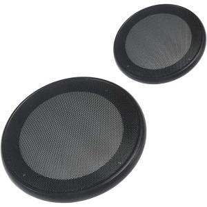 美しいスチールメッシュ スピーカー グリル カバー 選べる4サイズ / 3色 汎用 左右セット(ブラック, 6.5インチ)|horikku