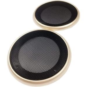 美しいスチールメッシュ スピーカー グリル カバー 選べる4サイズ / 3色 汎用 左右セット(ゴールド, 4インチ)|horikku