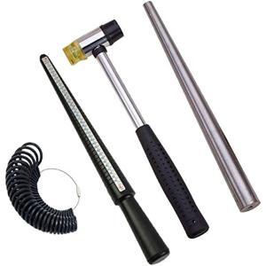 リングゲージ 指輪 サイズ棒 日本規格 計測 調整 鉄芯棒 ツール ハンマー(4点セット)|horikku