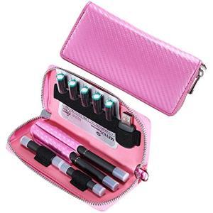 プルームテック ケース ピンク かわいい Ploom TECH 大容量 高級カーポンレザー柄 ロングタイプ TBK-004-JP(ピンク)|horikku