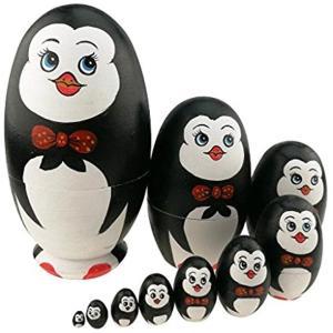 可愛い蝶ネクタイをつけるペンギン 卵の形 マトリョーシカ人形 手業 手塗り 木製品 10個組 誕生日プレゼント 贈り物 子供のおもちゃ 飾り物|horikku