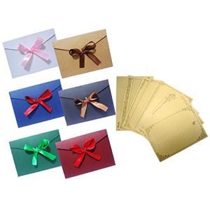 リボン レトロ メッセージカード 封筒 つき 手紙 便箋 レターセット(カラーセット)|horikku