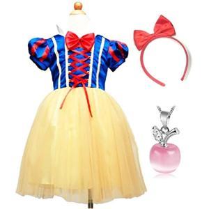 子供 コスプレ 白雪姫 ドレス 林檎のネックレスセット ハロウィン クリスマス 仮装 衣装(青100s)|horikku