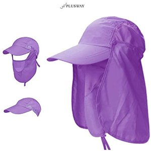 [プラスウェイ]4way 日焼け防止 UVカット つば広 帽子 アウトドア 釣り ガーデニングハット 360度 メッシュ(パープル, フリー)|horikku
