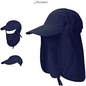 [プラスウェイ]4way 日焼け防止 UVカット つば広 帽子 アウトドア 釣り ガーデニングハット 360度 メッシュ(ネイビー, フリー)|horikku