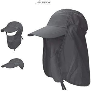[プラスウェイ]4way 日焼け防止 UVカット つば広 帽子 アウトドア 釣り ガーデニングハット 360度(チャコールグレー, フリー)|horikku