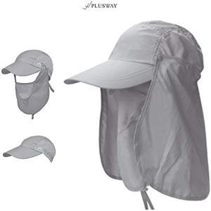[プラスウェイ]4way 日焼け防止 UVカット つば広 帽子 アウトドア 釣り ガーデニングハット 360度 防水(ライトグレー, フリー)|horikku