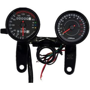 バイク モンキーゴリラ等 汎用 12V 電気式 タコメーター & 機械式 スピード メーターセット ...