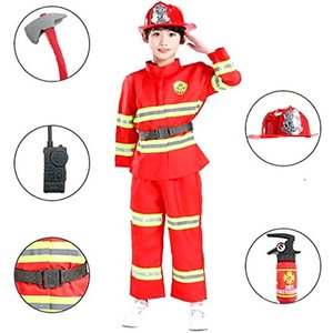 こども キッズ コスプレ衣装 消防士 小道具 セットコスチューム 仮装 ハロウィン 黒・オレンジ風船2個セット(130)|horikku