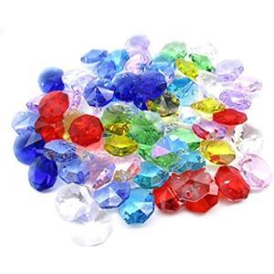 1つ穴 八角 クリスタル ガラス ビーズ 14 mm 手作り サンキャッチャー 材料 パーツ 色付き 70 個 セット(MIX)|horikku