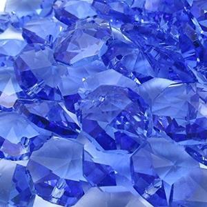 1つ穴 八角 クリスタル ガラス ビーズ 14 mm 手作り サンキャッチャー 材料 パーツ 色付き 70 個 セット(ライトブルー)|horikku