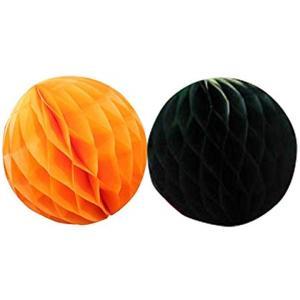 ハロウィン パーティー 飾り 付け ハニカムボール 10cm 15cm 橙黒8個セット[F002G](G)|horikku