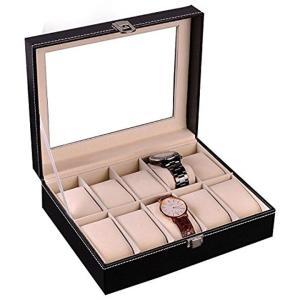 腕時計収納ケース 10本用 腕時計収納ボックス コレクションケース ウォッチアクセサリー ブラック|horikku
