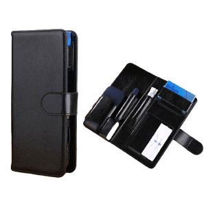 iQOS アイコス ケース 2本収納 手帳型 電子 加熱式 煙草 おしゃれ PU レザー 2.4Plus対応(オニキスブラック)|horikku