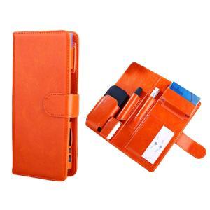 iQOS アイコス ケース 2本収納 手帳型 電子 加熱式 煙草 おしゃれ PU レザー 2.4Plus対応(アンバーオレンジ)|horikku