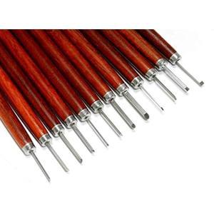GiGant 極細プロ 精密 彫刻刀 セット 1mm-4mm Φ13 伝統工芸 木彫 オリーブ核 細工 pro12[CH-12PROT](12本) horikku
