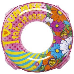 南国をイメージした花柄デザインの夏らしい浮き輪です。  直径80センチ(空気注入前)のウキワです。 ...